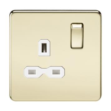 KnightsBridge 1G DP 13A 230V Screwless Polished Brass UK 3 Pin Switched Electrical Wall Socket - White Insert