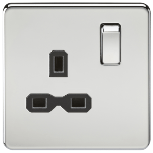 KnightsBridge 1G DP 13A 230V Screwless Polished Chrome UK 3 Pin Switched Electrical Wall Socket - White Insert