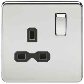 KnightsBridge 1G DP 13A 230V Screwless Polished Chrome UK 3 Pin Switched Electrical Wall Socket - White Insert