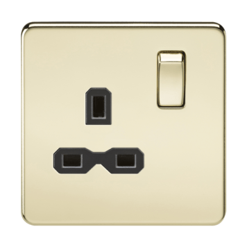 KnightsBridge 1G DP 13A Screwless Polished Brass 230V UK 3 Pin Switched Electrical Wall Socket - White Insert