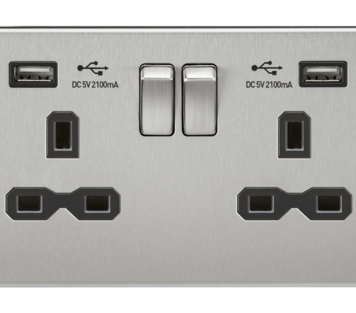 KnightsBridge 2G 13A Screwless Brushed Chrome 2G Switched Socket with Dual 5V USB Charger Ports - Black Insert