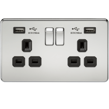 KnightsBridge 2G 13A Screwless Polished Chrome 2G Switched Socket with Dual 5V USB Charger Ports - Black Insert