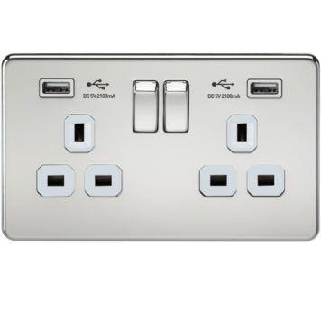 KnightsBridge 2G 13A Screwless Polished Chrome 2G Switched Socket with Dual 5V USB Charger Ports - White Insert