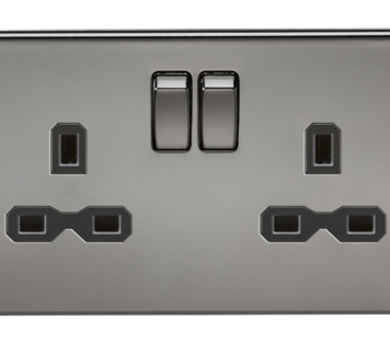 KnightsBridge 2G DP 13A Screwless Black Nickel 230V UK 3 Pin Switched Electric Wall Socket - Black Insert