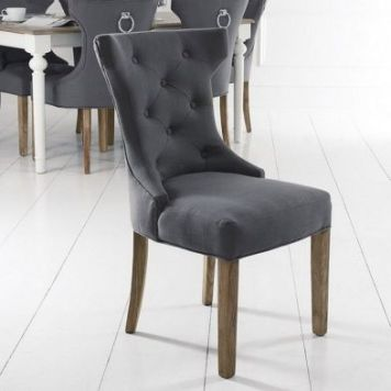 Lancelot Winged Back Dining Chair Grey With Button Detailing
