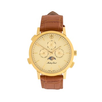 Mathey-Tissot Gent's Moon Phase Watch with Genuine Leather Strap