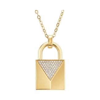 Michael Kors Gold Plated Padlock Pendant Necklace