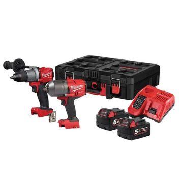 Milwaukee Power Tools M18 FPP2I2-502P FUEL Powerpack Twin Pack 18V 2 x 5.0Ah Li-ion