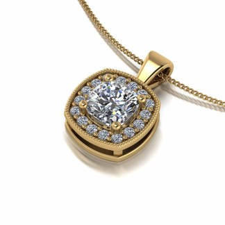 Moissanite Lady Lynsey 9ct Gold 1ct Eq Cushion Centre Halo Pendant Necklace
