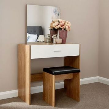 Ottawa Dressing Table Oak Style 1 Drawer With Stool