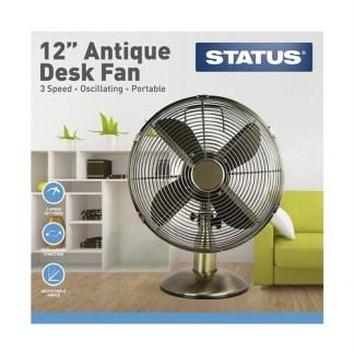 """Status 12"""" Antique Brass Desk Fan"""