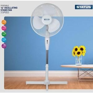 Status Portable 16-Inch Oscillating Stand Fan, White