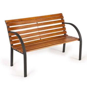 Zexum Teak Hardwood & Steel Garden Park Bench