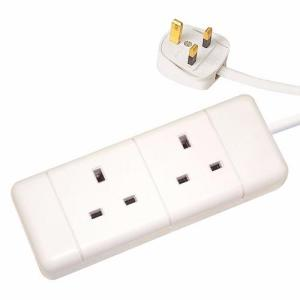 Zexum White 13A Plug 2 Gang 2G Socket Extension Cord Cable Lead