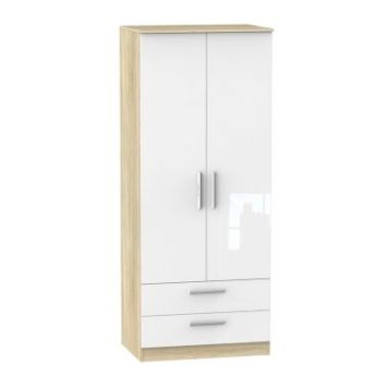 Buxton Wardrobe White 2 Door 2 Drawer