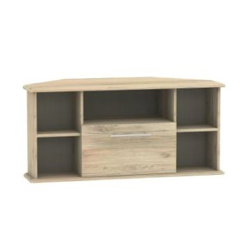 Colby Corner TV Unit 5 Shelf 1 Drawer Bordeux Oak Style