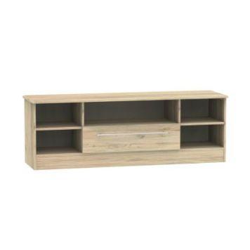 Colby Wide TV Unit 5 Shelf 1 Drawer Bordeux Oak Style