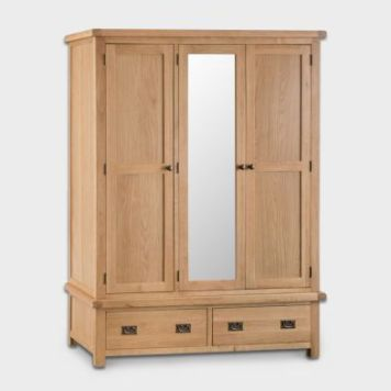 Cotswold Wardrobe Oak 3 Door 2 Drawer With Mirror