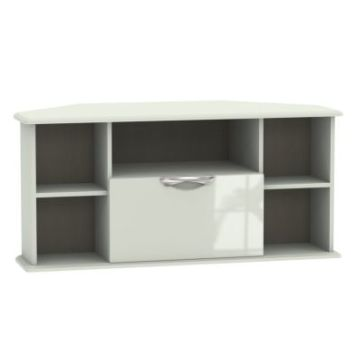 Weybourne Corner TV Unit Cream 5 Shelf 1 Drawer