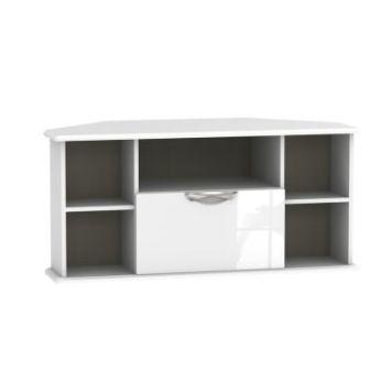 Weybourne Corner TV Unit White 5 Shelf 1 Drawer