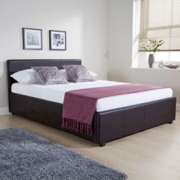 Winston Side Lift Double Ottoman Bed Brown Faux Leather
