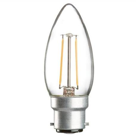 KnightsBridge 2W BC LED Clear Candle Bulb