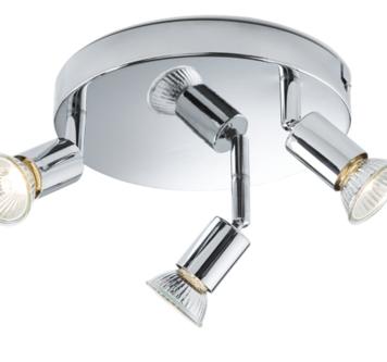 KnightsBridge Ceiling Light GU10 50 Watt 3 Spotlight Bar Chrome LED Compatible