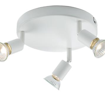 KnightsBridge Ceiling Light GU10 50 Watt 3 Spotlight Bar White LED Compatible