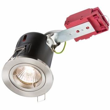 KnightsBridge GU10 50W 230V LED Compatible IC Fire Rated Fixed Downlight - Brushed Chrome