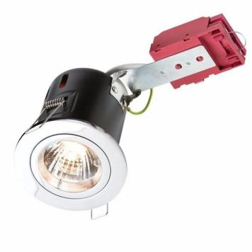 KnightsBridge GU10 50W 230V LED Compatible IC Fire Rated Fixed Downlight - Polished Chrome