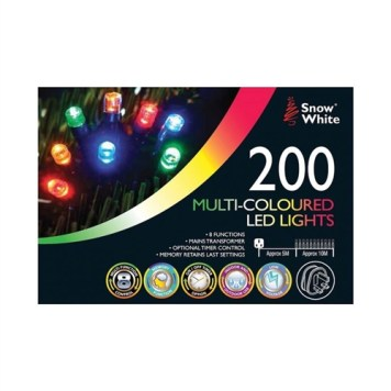 Snow White 200 LED Chaser Lights - Multi-Coloured