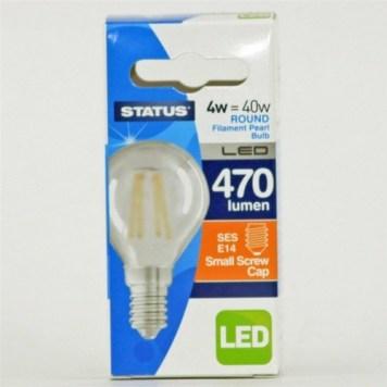 Status 4W SES Round LED Filament Bulb - Pearl