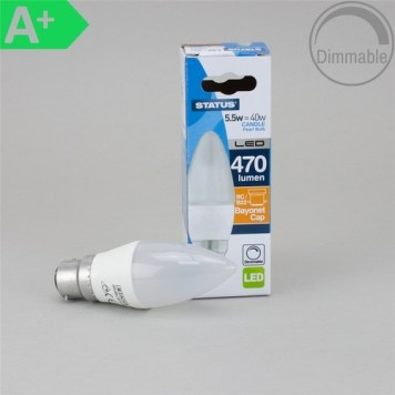Status 5.5W BC Candle Pearl LED Bulb, Dimmable - BC