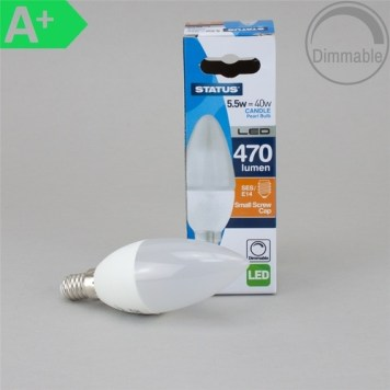 Status 5.5W BC Candle Pearl LED Bulb, Dimmable - SES