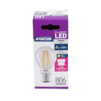 Status 6W GLS LED Filament Bulbs - BC