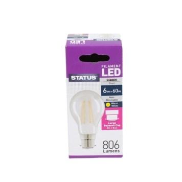 Status 6W GLS LED Filament Pearl Bulb - BC