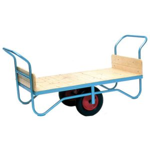 Barton Storage Barton Storage BT/9121/PT/RB Double Handle Flatbed Trolley With Pneumatic Wheels