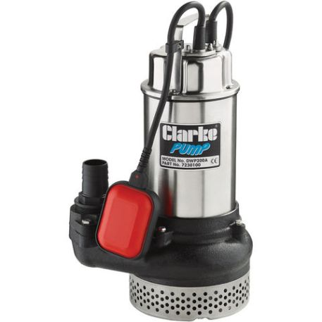 """Clarke Clarke DWP200A 2"""" 1500W 600Lpm 10m Head Submersible Dirty Water Pump With Float Switch (230V)"""