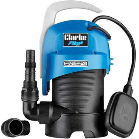 """Clarke Clarke DWP300A 1¼"""" 330W 130Lpm 5.5m Head Submersible Clear and Dirty Water Pump with Float Switch (230V)"""