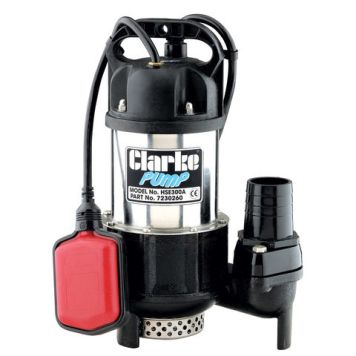 "Clarke Clarke HSE300A 2"" 720W 300Lpm 10m Head Heavy Duty Submersible Pump with Float Switch (230V)"