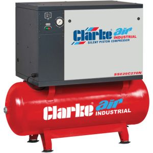 Clarke Clarke SSE25C270N 23cfm 270Litre 5.5HP Low Noise Piston Air Compressor (400V)