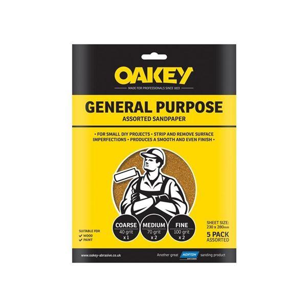 Oakey Glasspaper Sanding Sheets 230 x 280mm Medium 80G (5)
