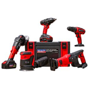Sealey Sealey CP20V Series 5 x 20V Cordless Tool Combo with 2 x 3Ah Batteries & Charger