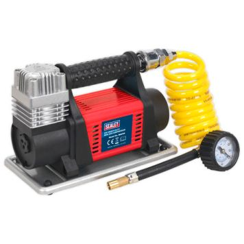 Sealey Sealey MAC04 12V Heavy-Duty Tyre Inflator/Mini Air Compressor 4.5m Hose
