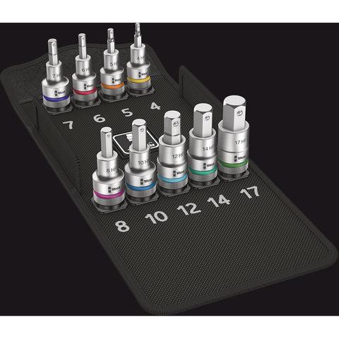 "Wera Wera 8740 C HF Zyklop Hex Bit 10 Piece Socket Set 1/2"" Drive x 60mm"