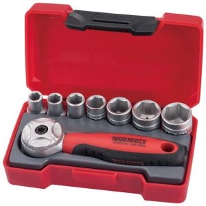 "Teng Teng Tools T1408 1/4"" Drive 8 Piece Metric Socket Set"