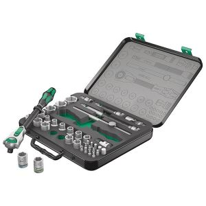 Wera 8100 SC 2 Zyklop Speed Ratchet & Socket Set of 37 Metric 1/2in Drive