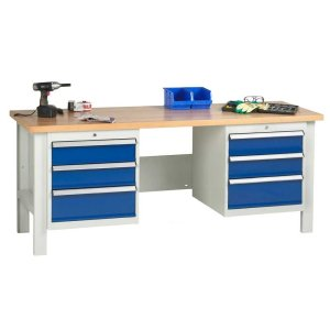 2000mm wide Basic Industrial Workbench - 2x Drawers and 1x Cupboard