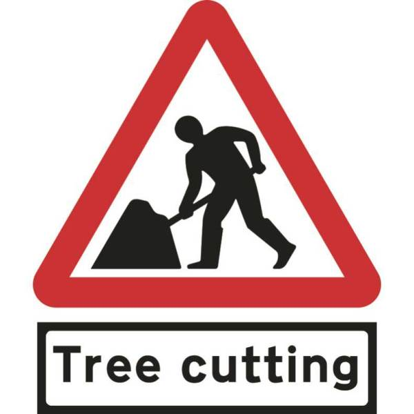 600mm Triangular Road Works & Tree Cutting Supp Plate Roll-up Sign
