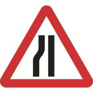 750mm Triangular Road Narrows Left Roll-up Sign